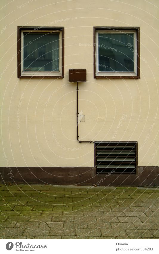 House (Residential Structure) Wall (building) Window Wall (barrier) Building Brown Glass Construction site Asphalt Sidewalk Manmade structures Cobblestones Pavement Beige Window board Ventilation