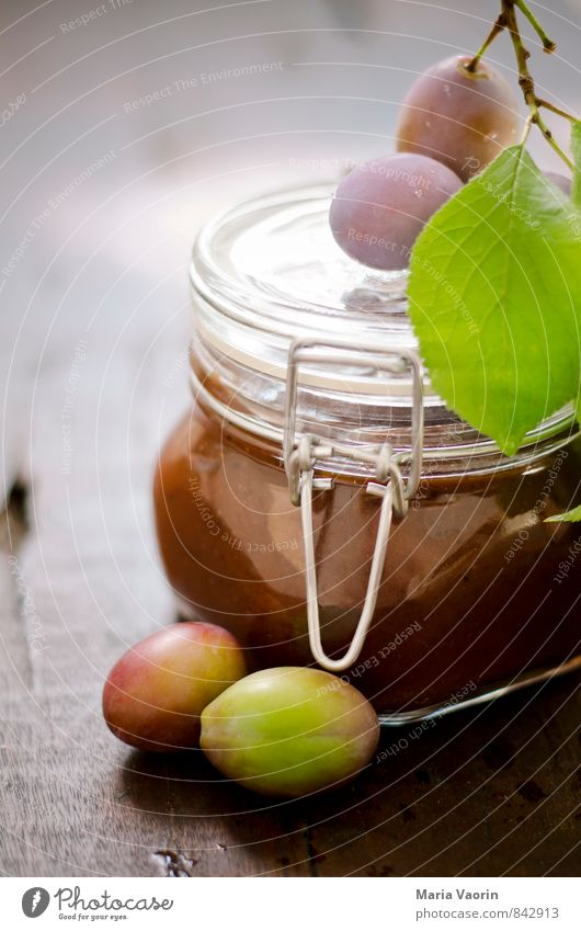 Food Fruit To enjoy Table Sweet Juicy Wooden table Self-made Jam Plum Preserving jar Jam jar