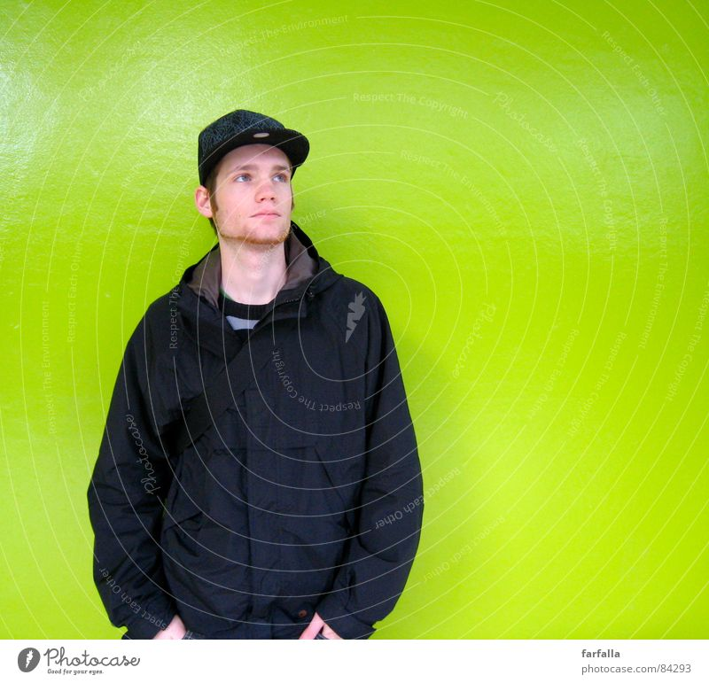 The banger Grass green Green Gaudy Bilious green Black Background picture Portrait photograph Station Appearance Human being train station masculine male