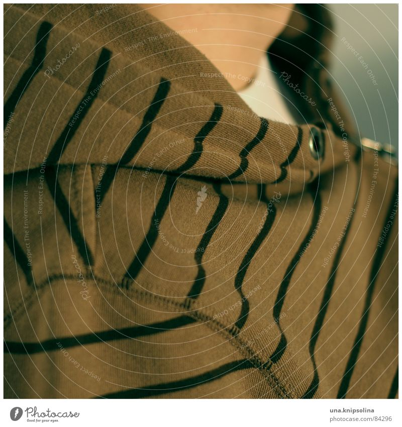 Black Relaxation Fashion Line Brown Contentment Stripe String Jacket Square Striped Neck Hooded (clothing) Eyelet Gullet