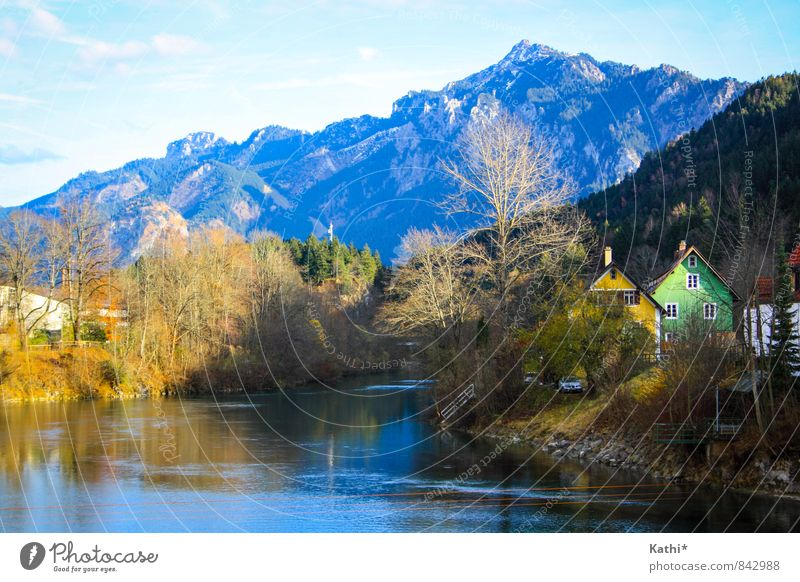 feet Nature Landscape Water Sky Sunlight Autumn Beautiful weather Tree Forest Mountain River bank Germany Europe Village Deserted House (Residential Structure)