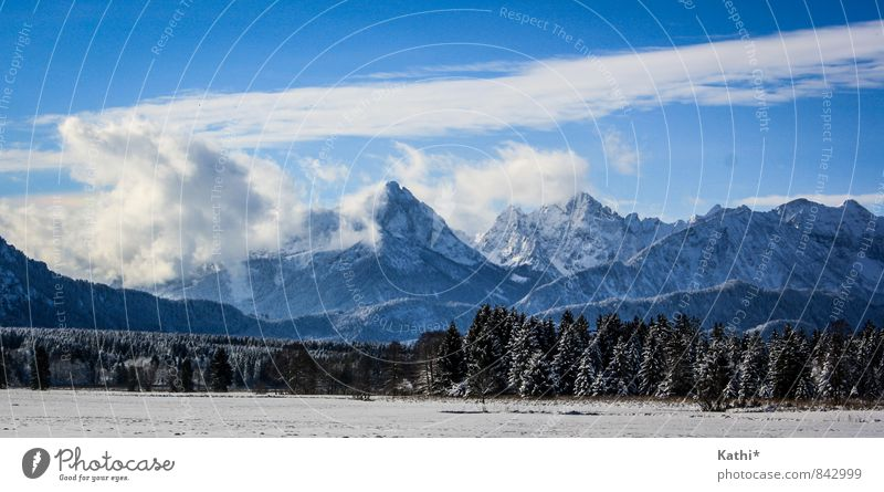 Wintertime in Bavaria Nature Landscape Elements Air Sky Clouds Climate change Snow Mountain Snowcapped peak Buching Germany Europe Firm Gigantic Large Strong