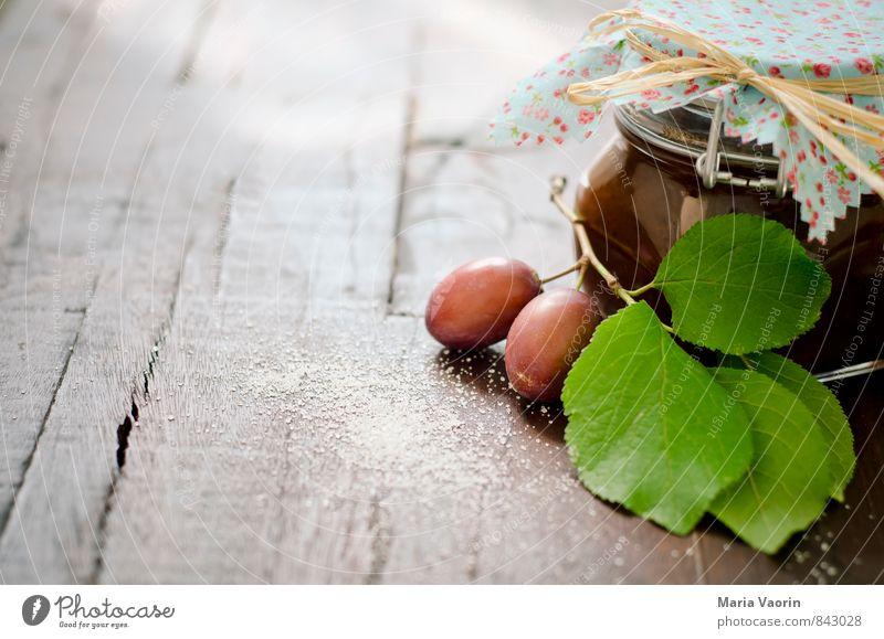 Food Fruit Fresh Sweet Twig Delicious Breakfast Juicy Sugar Wooden table Self-made Jam Plum Preserving jar Jam jar