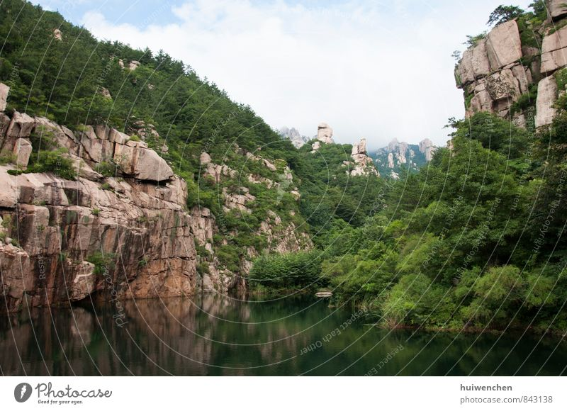 mountain lake Nature Landscape Plant Water Sky Summer Beautiful weather Tree Forest Virgin forest Rock Mountain Lake Fantastic Gigantic Blue Brown Green