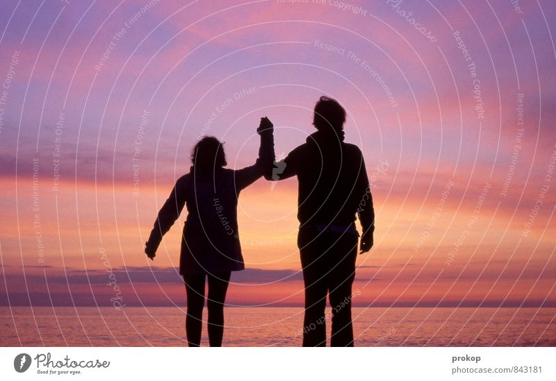 Two by two Human being Masculine Feminine Young woman Youth (Young adults) Young man Friendship Couple Partner 2 Environment Nature Water Sky Coast Beach