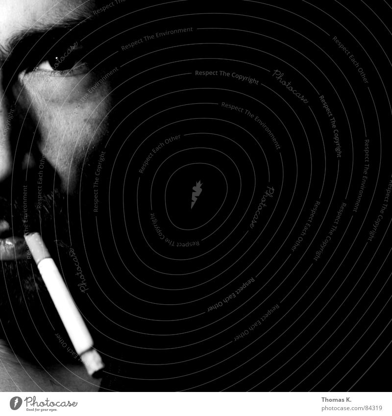 Smoking still kills Tobacco products Pulmonary disease Portrait photograph Black Cigarette Light Cancer Man Face Black & white photo Cigarette Butt
