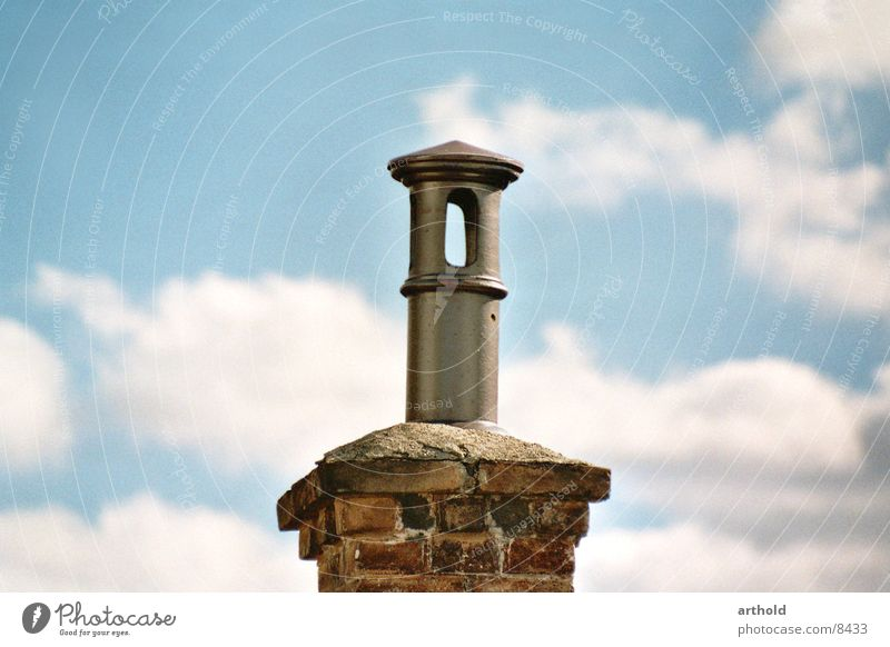Old Architecture Style Above Round Pipe Chimney Covers (Construction) Opening Clouds in the sky Cloud formation Stylistic Brick construction
