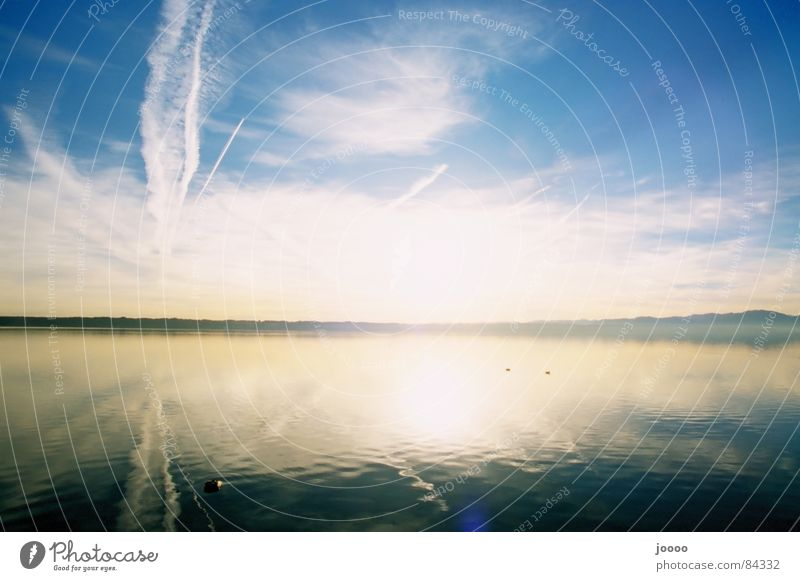 Sky White Sun Blue Clouds Lake Sunrise Mirror Beautiful weather Lake Starnberg