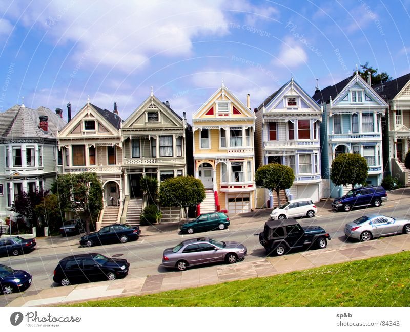 Alamo Square California Places San Francisco House (Residential Structure) Exterior shot USA Grass surface Tilt Americas Parking lot Exceptional Day Area Street