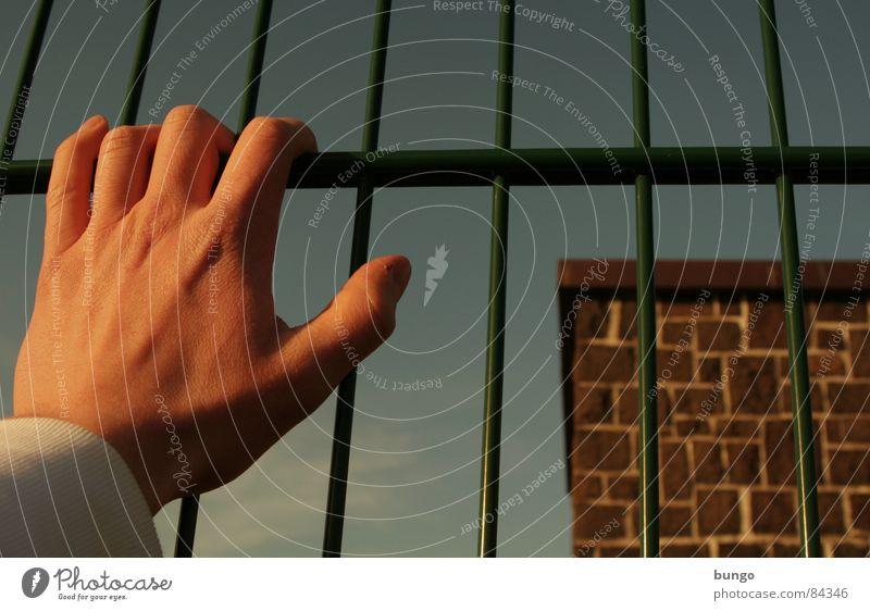 parted Fence Grating Border Barrier Limit Hold Stop Divide Captured Exclude Confine Wall (barrier) Longing Hope Distress Grief Desire borderline End inside