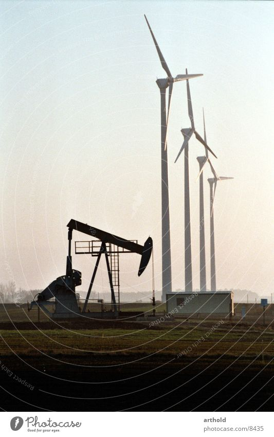 Industry Energy industry Wind energy plant Renewable energy Pumpjack Oil production Oilfield