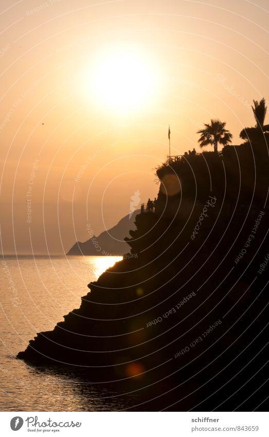 Gold Coast Landscape Sun Sunrise Sunset Sunlight Summer Beautiful weather Rock Bay Ocean Yellow Orange Black Cliff Palm tree Vantage point Sunbeam Italy