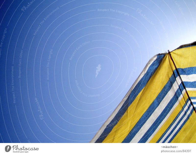 summer feeling Sunshade Yellow White Sky Beach Summer Express train Physics Sunbathing To enjoy Vacation & Travel Relaxation Worm's-eye view Joy Blue sunshine