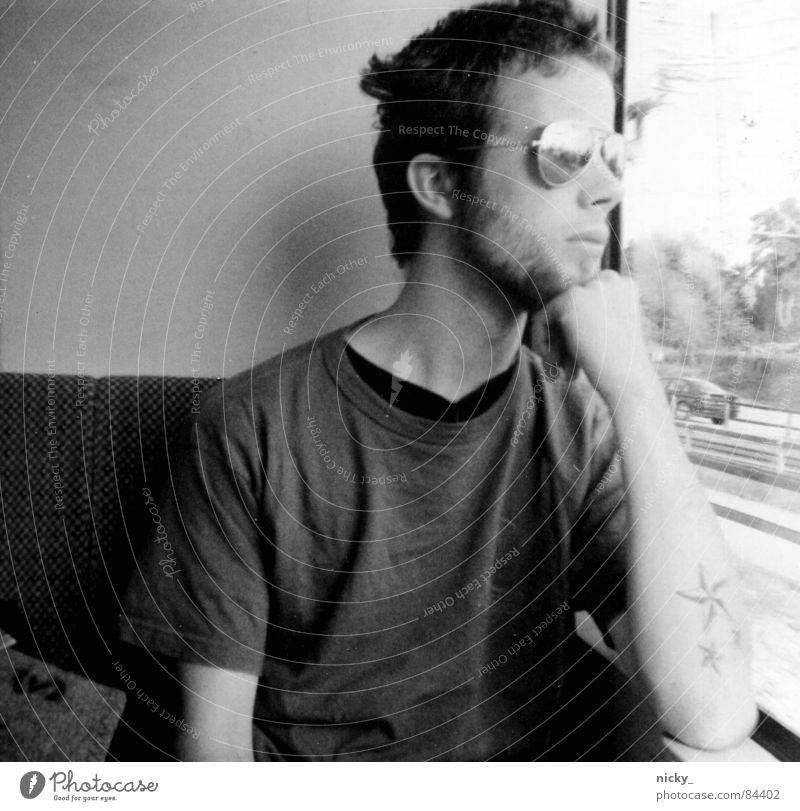 long way to love Black Pornography Eyeglasses Sunglasses Railroad Gray Hand Window Analog Longing man nile train white grey Scan grain