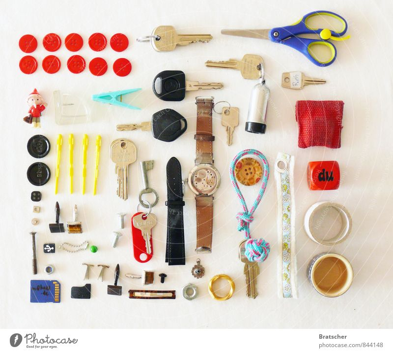 "Drawer V: ""You"" Inventory Arrangement Collection Accumulation Untidy Buttons Scissors Key Car Car dealer sandman Holder Clock Pendant Keyring Cube Dice"