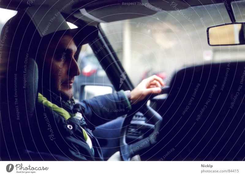 Man Young man Adults Face Style Moody Masculine Car Authentic Driving Serene Cap Concentrate Mirror Jacket Mobility