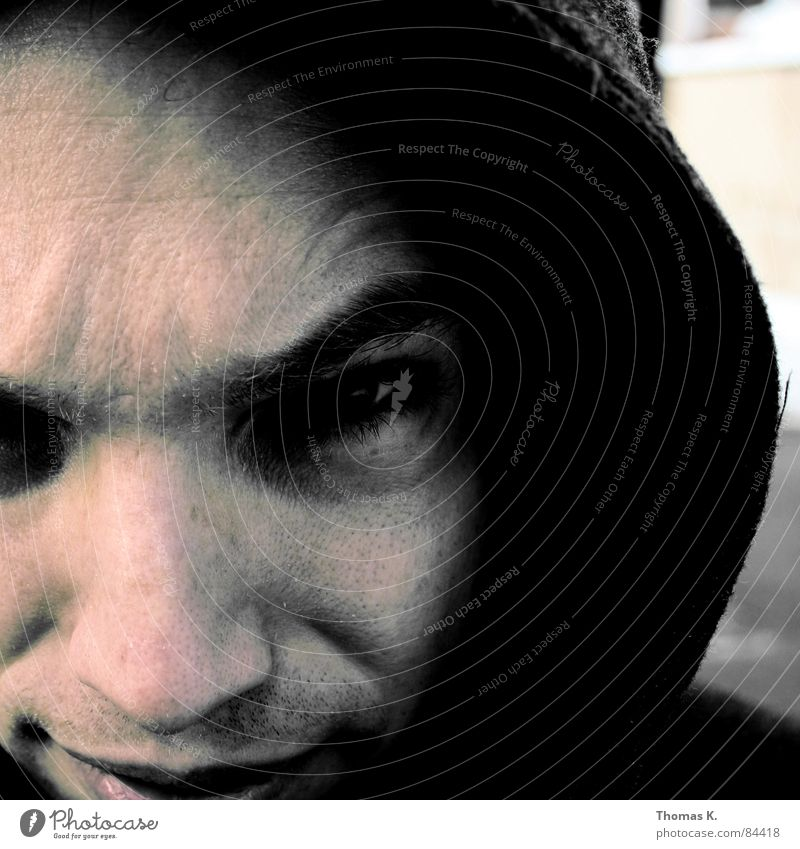 Man Face Eyes Dark Head Mouth Nose Facial hair Hooded (clothing) Neighbor