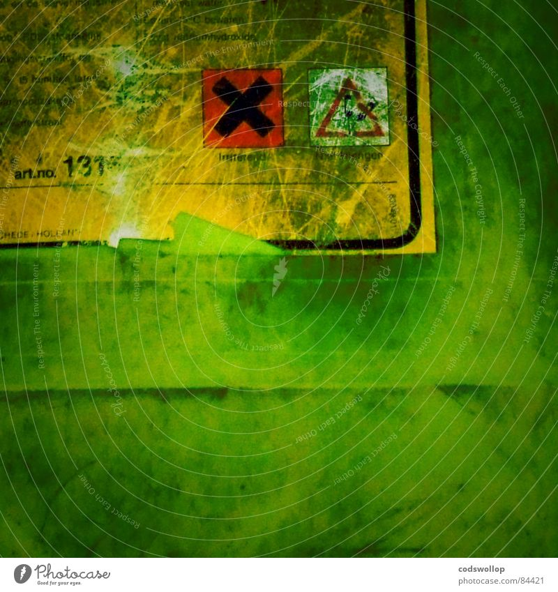 Green Fear Good Industry Science & Research Warning label Evil Muddled Attempt Label Murder Symbols and metaphors