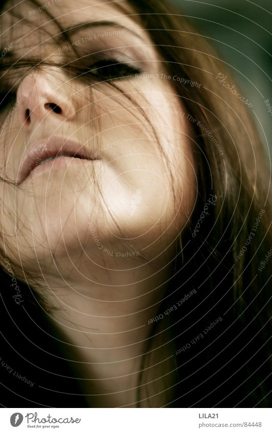 At this second Woman Green Close-up Gale Interior shot Self portrait Release Hair and hairstyles Movement Eyes Mouth Nose Joy Freedom Wind
