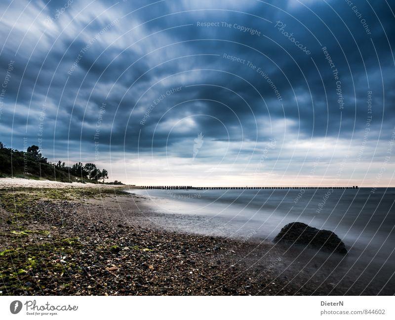 gosh Beach Ocean Landscape Sand Water Sky Clouds Storm clouds Horizon Coast Baltic Sea Stone Blue Brown Black White Kühlungsborn Mecklenburg-Western Pomerania