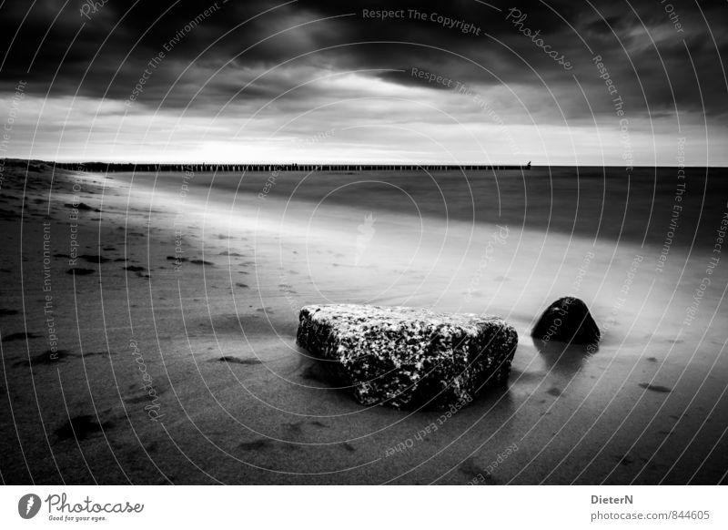 silent Beach Ocean Landscape Sand Water Clouds Horizon Coast Baltic Sea Stone Gray Black White Kühlungsborn Mecklenburg-Western Pomerania Break water