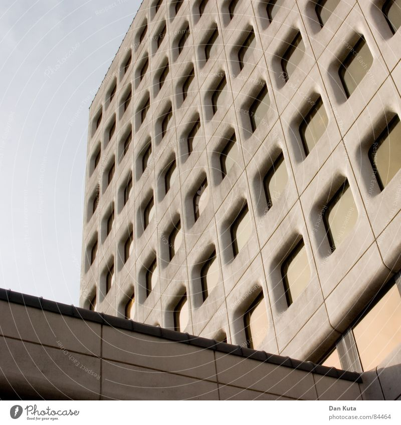 Sky Calm Window Gray Facade Modern Perspective Partially visible Seventies The eighties Majestic Window cleaner