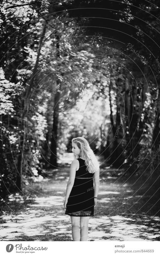 tunnels Feminine Young woman Youth (Young adults) 1 Human being 18 - 30 years Adults Beautiful weather Forest Exceptional Dark Black & white photo Exterior shot