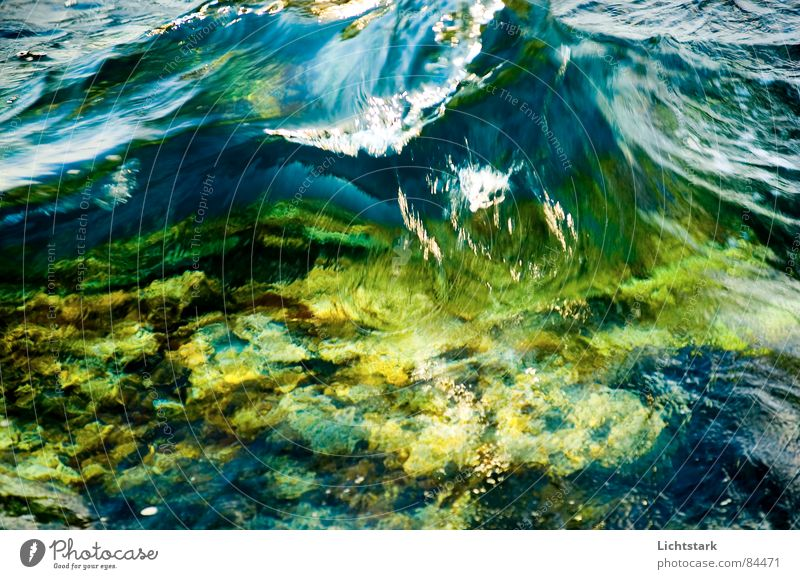 shaft Vacation & Travel Ocean Calm Waves Green Fast-flowing stream Amber coloured Green space Gush of water Water Spring Power Colour gentle waves