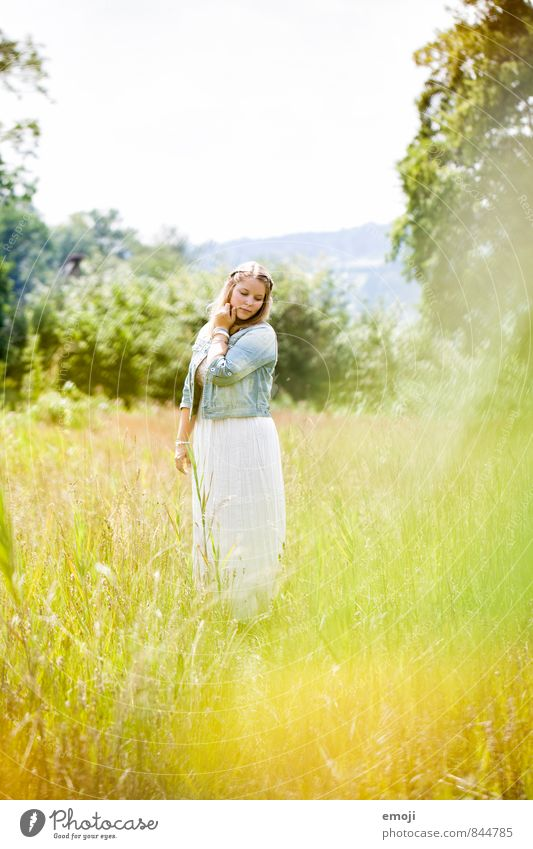 Human being Nature Youth (Young adults) Beautiful Green Young woman Landscape 18 - 30 years Environment Yellow Adults Meadow Feminine Natural Beautiful weather