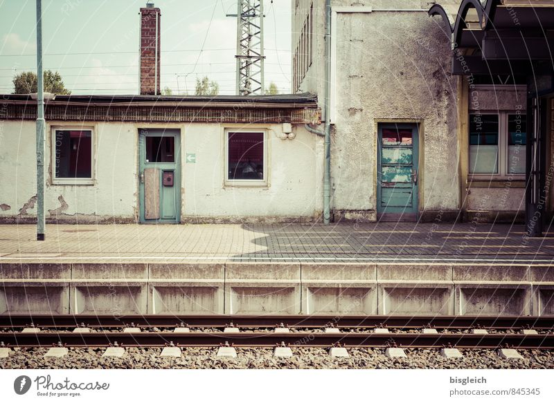 Vacation & Travel Loneliness Calm Window Wall (building) Wall (barrier) Gray Brown Door Wait Poverty Concrete Transience Decline Railroad tracks Wanderlust