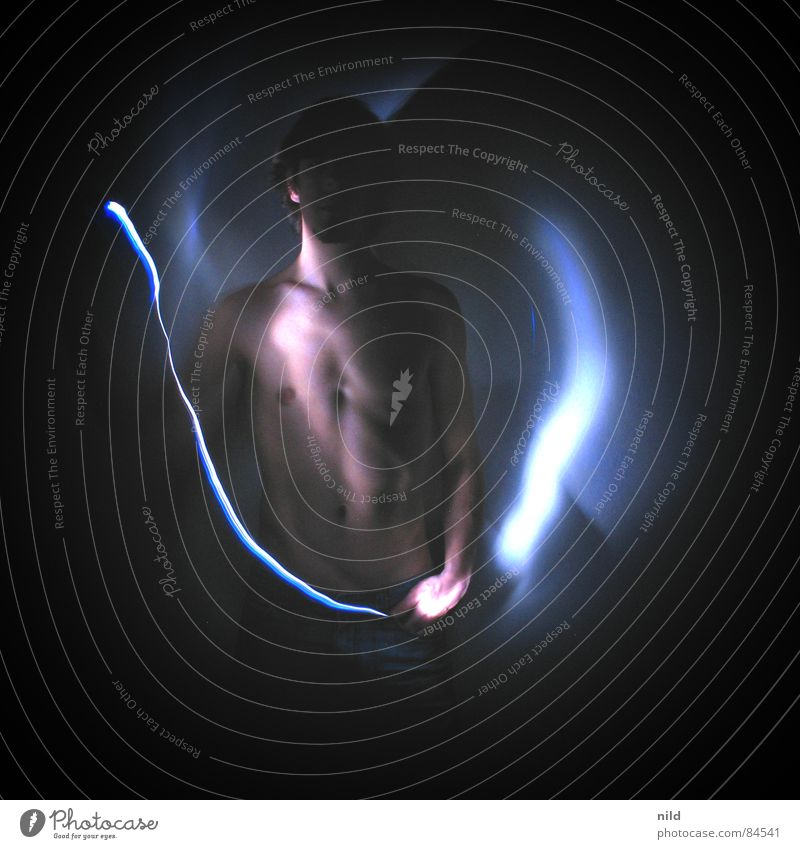 (Half)act in (half)darkness Light Long exposure Upper body Dark Mystic Visual spectacle Nude photography Man Mens upper part of body Male nude Low-key
