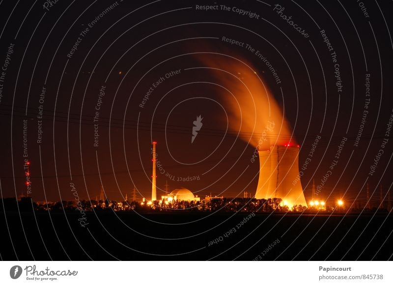 Nuclear power plant at night Industry Energy industry Nuclear Power Plant Schweinfurt Germany Industrial plant Electricity generating station Colour photo