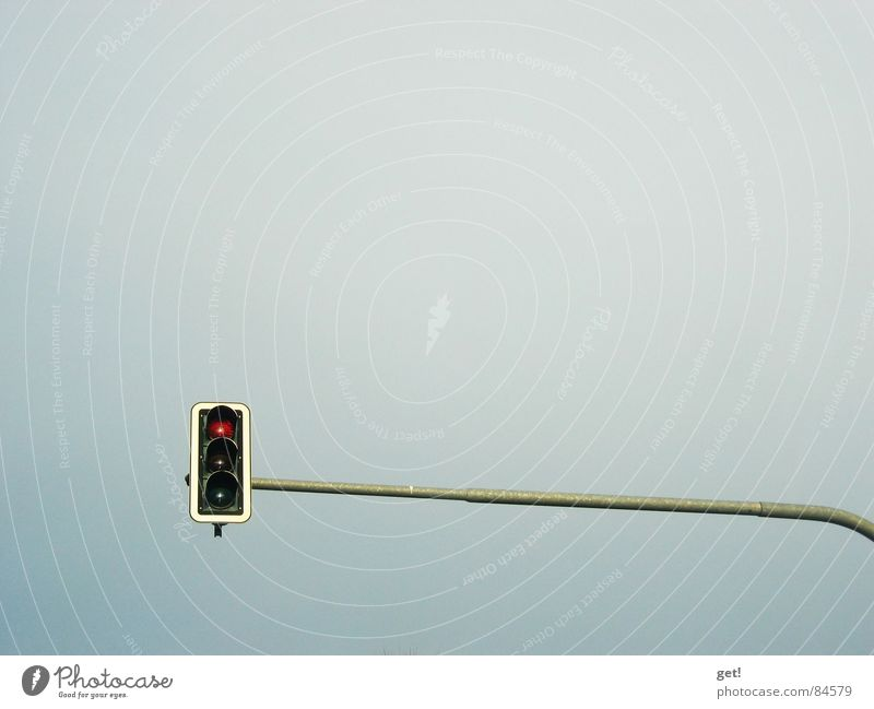 A traffic light sees red! Traffic light Red Minimalistic Detail street lights Light heavens blue Looking