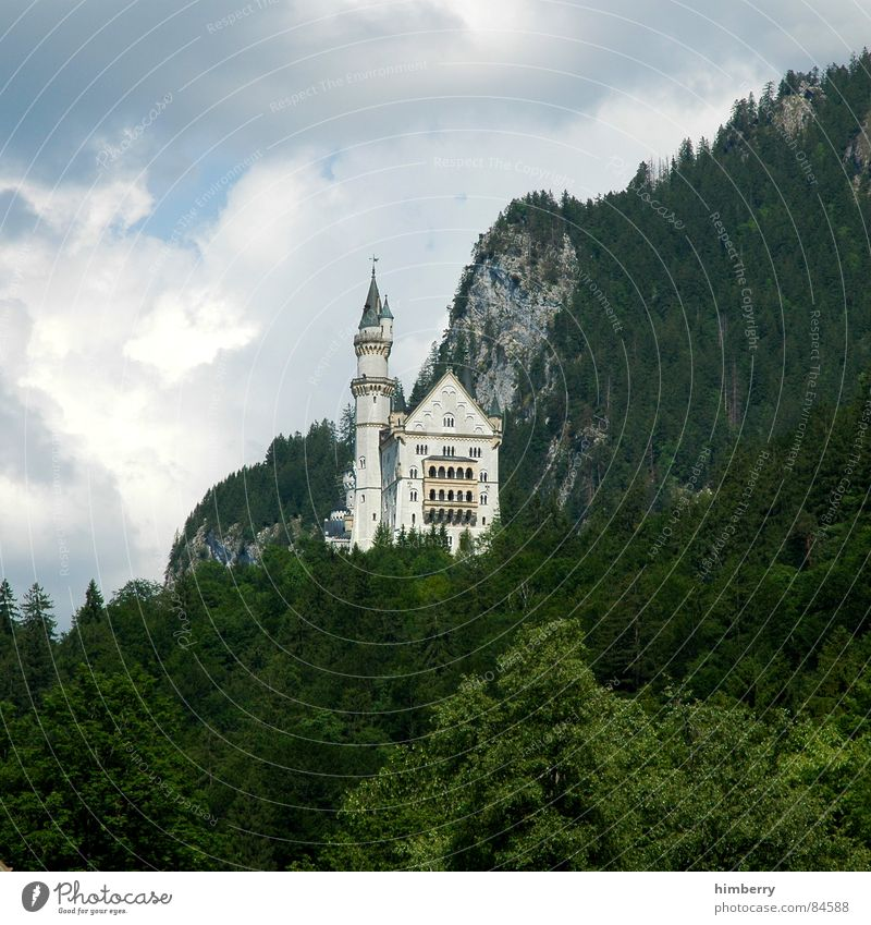 Mountain Art Romance Culture Castle Monument Bavaria Landmark King Allgäu Mountain range Majestic Royal Castle in the air