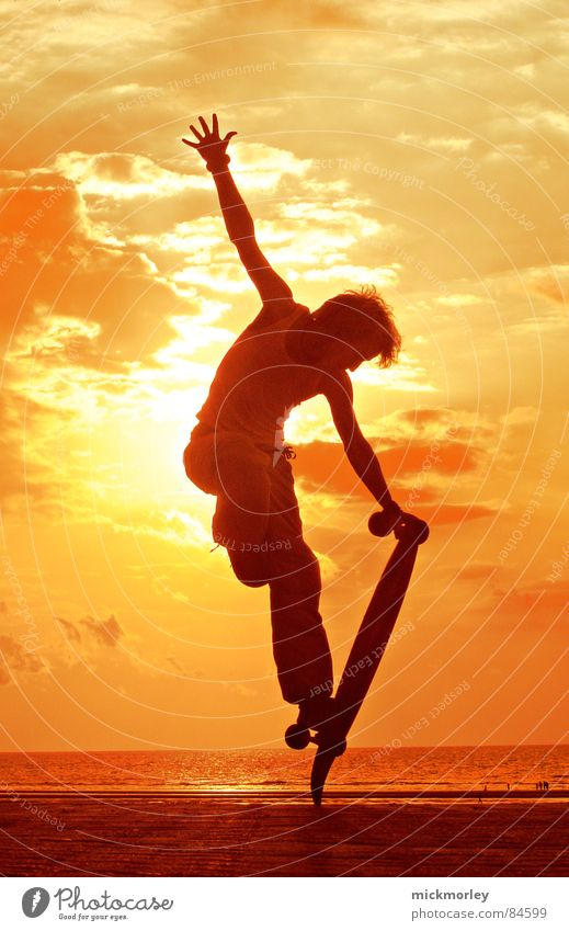 longboard in the sun Yellow Ocean Acrobat France Sunrise Sunset Evening Morning Bathing place Leisure and hobbies Skateboard Skateboarding Orange Freedom move