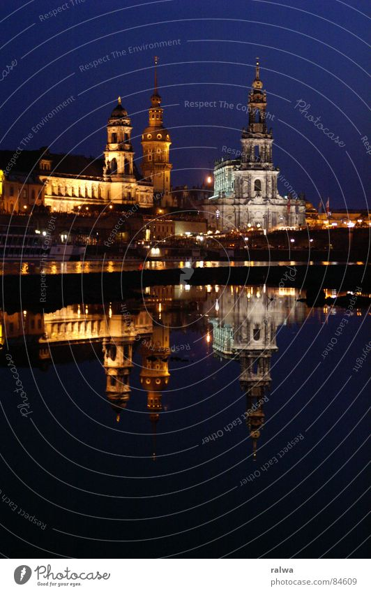 Water Summer Night Dresden Elbe Hofkirche Freehand
