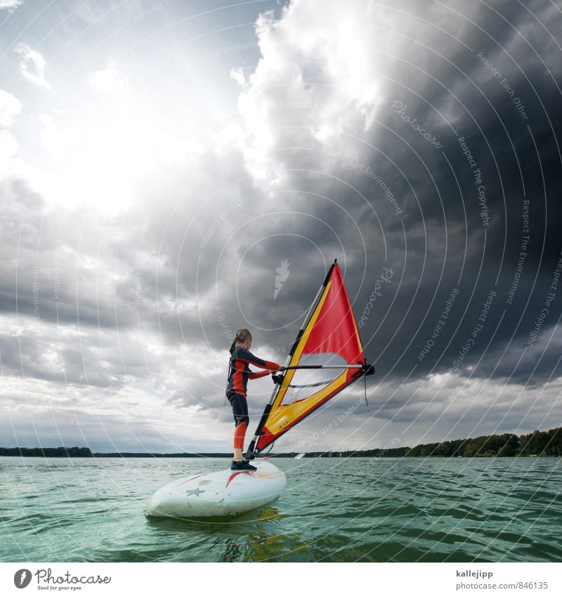 Human being Child Water Red Clouds Joy Life Movement Sports Lake Waves Infancy Stand Fitness Lakeside Navigation