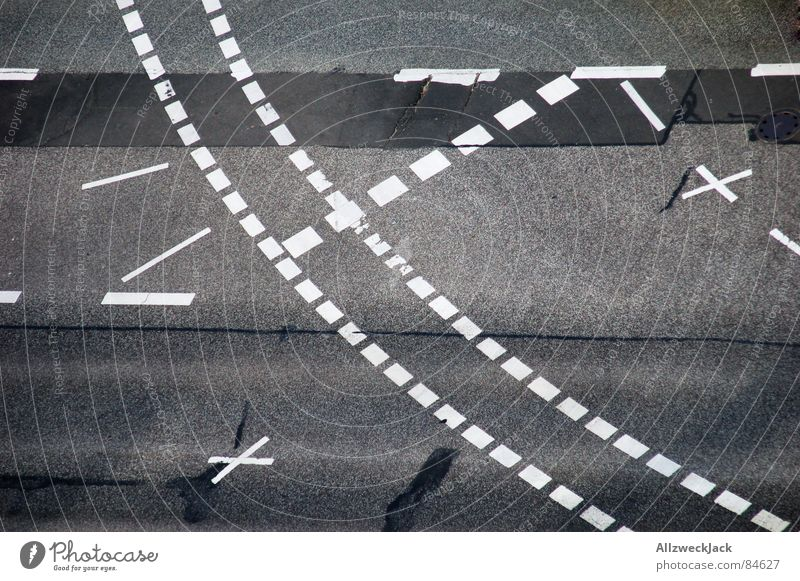 StVO pattern Urban traffic regulations Road traffic Bird's-eye view Town Turn off Cycle path Empty Crossroads Lane markings Gray Asphalt Transport Freeway