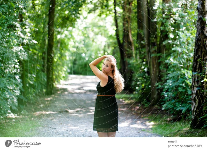 forest road Feminine Young woman Youth (Young adults) 1 Human being 18 - 30 years Adults Environment Nature Summer Beautiful weather Forest Natural Green