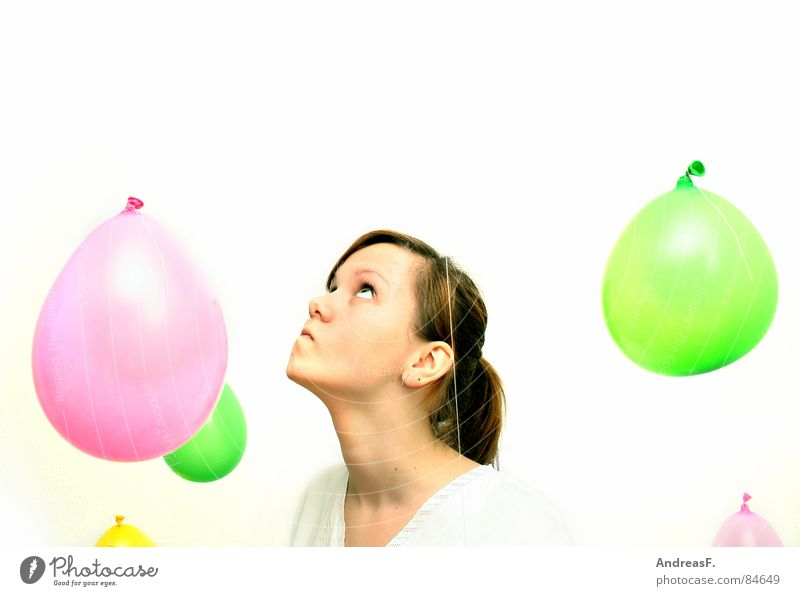 Woman Sky White Joy Colour Eyes Playing Dream Bright Trip Crazy Balloon Pure Joie de vivre (Vitality) Blow Intoxicant