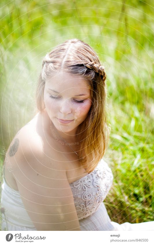 summer Feminine Young woman Youth (Young adults) 1 Human being 18 - 30 years Adults Environment Nature Landscape Spring Summer Beautiful weather Meadow Natural