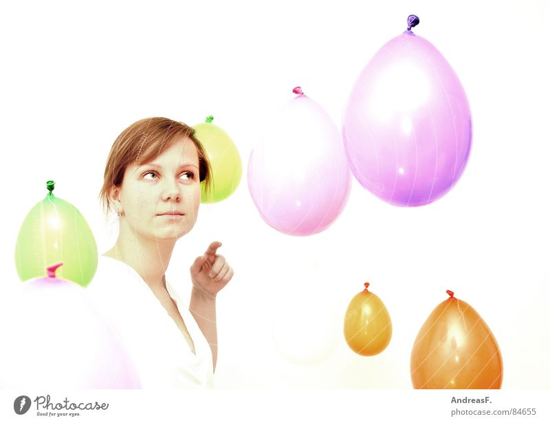 Woman Hand White Joy Colour Eyes Playing Bright Contentment Trip Crazy Fingers Balloon Curiosity Touch Pure