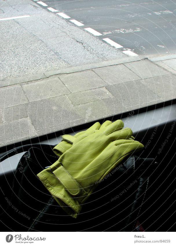 go by bus Gloves Handbag Window Green Asphalt Driving Transport Clothing Traffic infrastructure public transportation Bus Street Trip