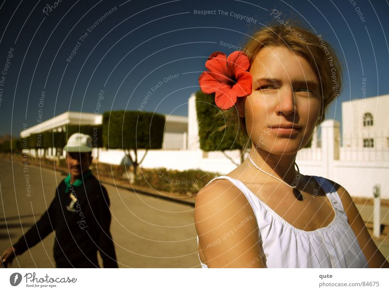 she's got the look Flower Man Woman red Arabian streetscape egypt noon