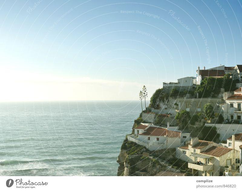 Azenhas do Mar Horizon Sun Waves Coast Beach Bay Ocean Stone Living or residing House (Residential Structure) Rock Portugal Atlantic Ocean Flat (apartment)