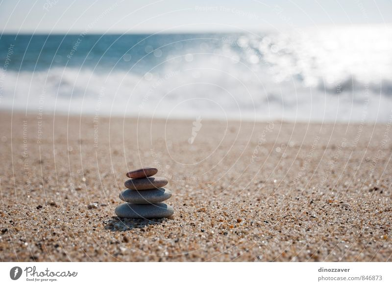 Stones on the beach Wellness Harmonious Relaxation Meditation Spa Summer Beach Ocean Nature Sky Horizon Rock Coast Natural Blue Black White Colour Arrangement