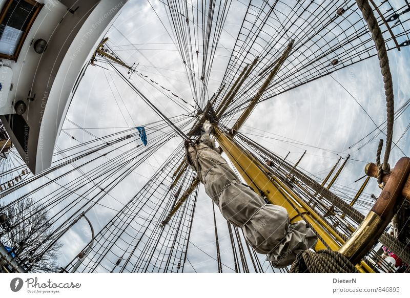 rig Technology Navigation Sailboat Sailing ship Rope On board Blue Yellow White Mast Rigging Sky Clouds Colour photo Exterior shot Deserted Day