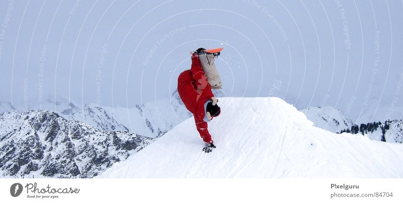 FREAK Snowboarder Winter sports Bad weather Sports Playing snow Mountain