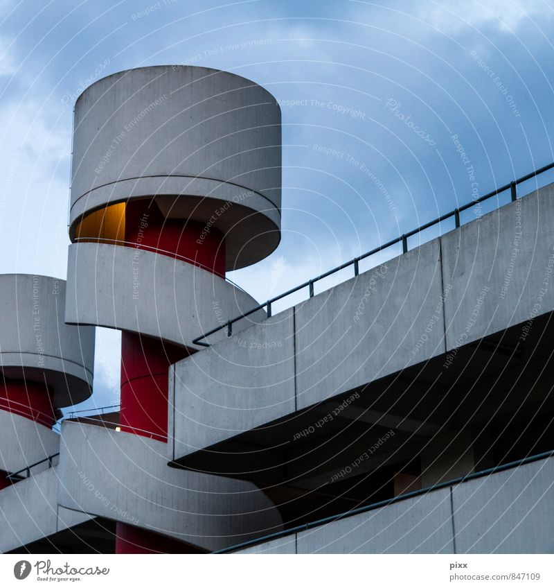 Red Architecture Style Gray Fear Car Elegant Design Transport Large Tall Esthetic Concrete Retro Driving Pure
