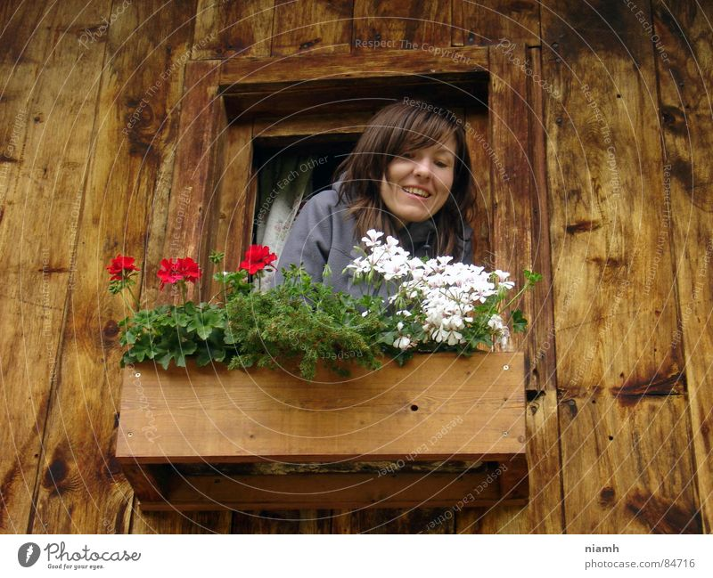 Woman Joy Vacation & Travel House (Residential Structure) Above Mountain Tall Communicate Joie de vivre (Vitality) Farmer Hut Austria Harmonious Farmer's wife